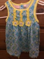 Summer Dress Blue And Yellow With Flowers Size 18 Months New With Tags