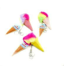 Set of 3 Faux Mink Fur Ice Cream Cone Key Chain Carabiner NEW