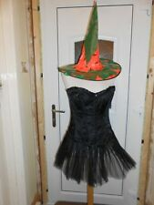 Fancy Dress Sexy Black Corset Tutu + Customised Witches Hat Size Sm Burlesque