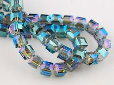 30pcs 6mm Cube Square Faceted Crystal Glass Charms Loose Beads Colorized Green