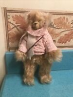 "Wonderful 10"" Mohair Bear Pink Sweater Cream Scraf. Glass Eye Not Jointed"