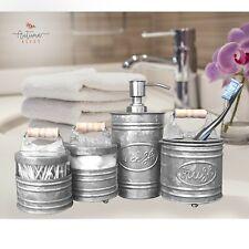 Autumn Alley Glass & Galvanized Farmhouse Bathroom Accessories Set- 4 pieces