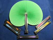 Assorted Solid Color Folding Paper Hand Held Personal Fan Set of 6