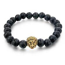 Mens Handmade Beaded Bracelet Lava Stone Gold Plated Lion Head Bead Bracelet 8mm