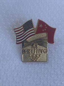 Beijing 2008 Olympic Pin - U.S. & China Dual Flags U.S. Olympic Rings