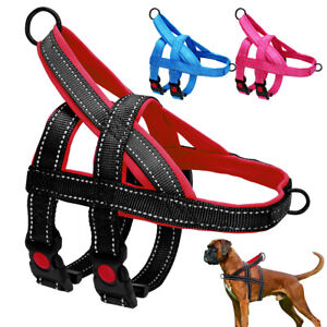 Reflective Dog Harness No Pull Front Clip With Handle Padded Heavy Duty Pitbull