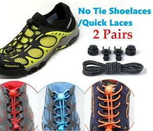 2X No Tie Elastic Lace System Easy Lock Shoe Laces Shoelaces Runners Adult Kids