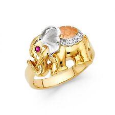 14K tricolor gold elephant ring EJRG1702