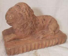 Good Antique Sewer Tile Folk Art Pottery Recumbent Lion With Interesting Paint