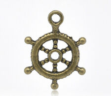 9 Pcs Antique Bronze Ship's Wheel Charms Pendants 20x15mm 45 LC1939