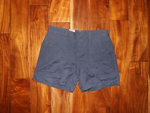 NWT Womens Calvin Klein Midnight Oil Blue Linen Shorts Sz 2