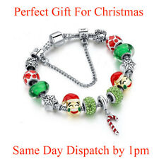Christmas Emoji Crystal Beaded Charm Bracelet Ladies Jewellery Xmas Gift UK