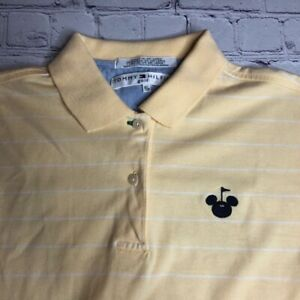 Tommy Hilfiger Golf Womens Polo Shirt Collared Yellow Striped 100% Cotton S