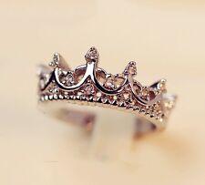 Women Rose Gold Rings Band Rhinestone Queen Crown Wedding Size 6-9 Princess HOT