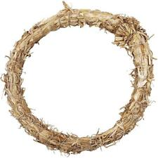 Natural Straw Wreath Round Shaped Golden Christmas Decorations Flora Crafts 21cm