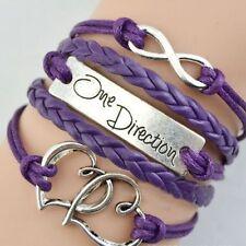 One Direction 1D Friendship Infinity Braided Leather Bracelet - PURPLE