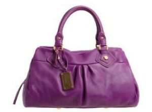 MARC JACOBS CLASSIC Q BABY GROOVEE VIOLET PURPLE ITALIAN LEATHER SATCHEL BAG,NWT
