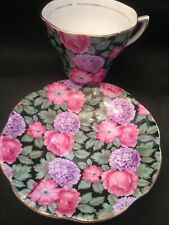 Rosina English Bone China Cup & Saucer Black w/Large Pink/Purple Flowers! #5020