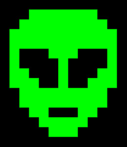 Neon Green Pixel Alien Digital art NFT card made created by ELY M. elymbmx 2021