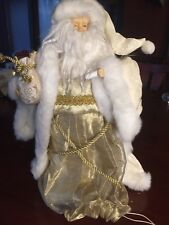 Light Up Santa Tree Topper White & Gold Wearing Robe Holding A Candle (Light)