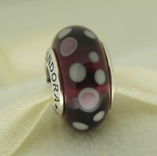 Authentic Pandora Silver Purple Bubbles Murano Glass Charm Bead 790693 Retired