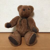 "Vintage Brown Bear Mohair Jointed 14"" Teddy Bear Plush Stuffed Animal AR52"