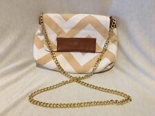 Just Fab Beige & White Chevron Zig Zag Fold Over Flap Handbag Purse Chain Strap