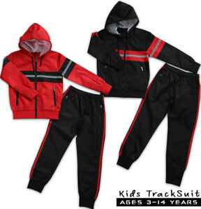 New Boys Tracksuit Kids Rib Style Hooded Junior Jogging Bottoms Hoodie 3-14 Year