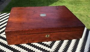 Red Mahogany EMPTY WOODEN CUTLERY CANTEEN BOX. no key. Brass plaque cartouche