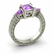 Solid 14k White Gold 1.77 Carat AAA Natural Amethyst Three Stone Engagement Ring