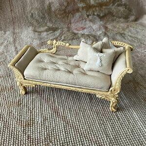 Dollhouse Miniature Leather Sofa Couch Lounge Divan Settee Pale Goldenrod 318