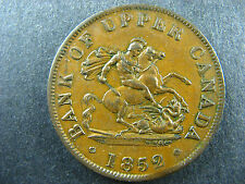 PC-5B2 Halfpenny 1852 clipped token Province of Upper Canada Breton 720