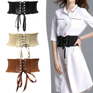 Wide Waist Belt Elastic Lace For Women Stretch Cincher PU Leather High quality