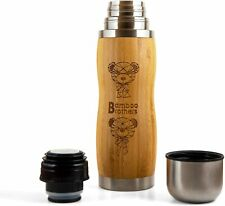 BBTNK Bamboo Bottle Tumbler Flask for Coffee, Tea, and Fruit Water | Vacuum-Seal