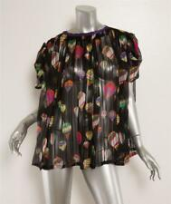 EMANUEL UNGARO VINTAGE Black Sheer Multi Hot Air Balloon Print Silk Blouse Top L