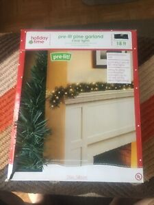 18 Ft Pre-lit Pine Garland Clear Lights