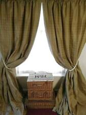 """Pair of Blanket Interlined 100% Silk curtains 51"""" Wide x 100"""" Long Antique Brass"""