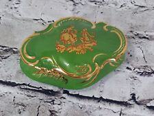 Antique Limoges Hand Painted Courting Scene Trinket jewelry Box France Green 24K