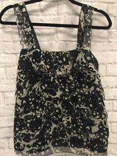 Studio M NEW Black & Gray Womens M Polka Dot Silk Blend Ruffle Front Blouse