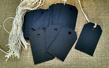 50 black chalkboard card stock price tags, gift tags, bag tags unstrung