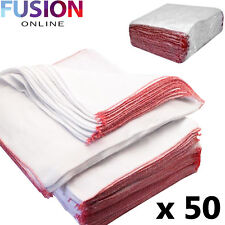 Pack of 50 Large Dish Cloths 100 Cotton Kitchen Tea Towels Drying Cleaning