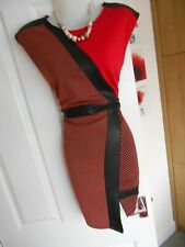 **STUNNING** RIVER ISLAND SIZE 14 RED BLACK PANEL WIGGLE DRESS **FAST POSTAGE*