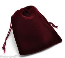 10 Gift Dark Red Velveteen Pouch Jewelry Bags With Drawstring 12x10cm
