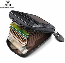 Men's Wallet Genuine Leather Credit Card Holder RFID Blocking Zipper Pocket NYPR