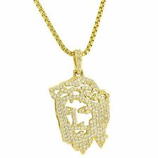 Jesus Piece Pendant Iced Out Simulated Diamonds 14K Gold Tone Free Chain