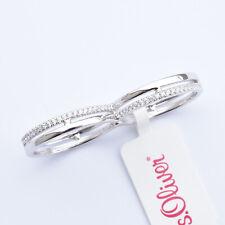 s.Oliver Damen Ring Doppelring zwei Finger Ring 925 Sterling Silber Zirkonia Gr.