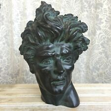 "Signed EDWARD MELCARTH ""Heroic Head"" MCM Bronze Patinated Male Bust Sculpture"