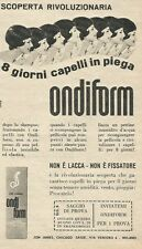 W8362 ONDIFORM 8 giorni capelli in piega - Pubblicità 1962 - Advertising
