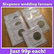 LUCKY SIXPENCE wedding favour, PERSONALISED, BRIDESMAID, PAGE BOY, BEST MAN