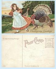 Thanksgiving Greetings Turkey Scares Young Girl c1912 Embossed Postcard